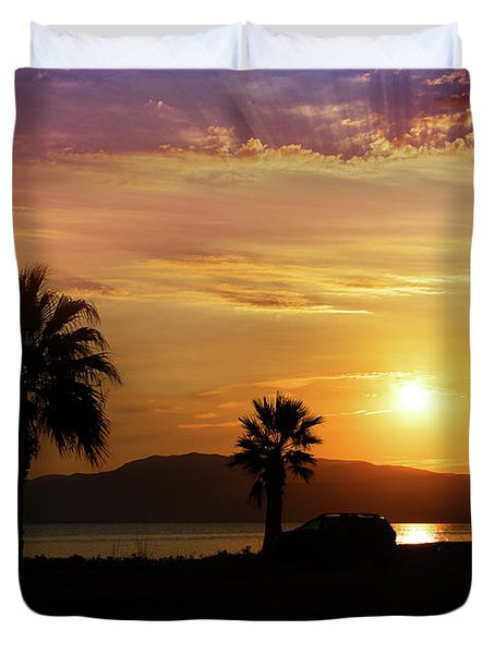 Duvet Cover featuring the photograph Palm Beach In Greece by Milena Ilieva