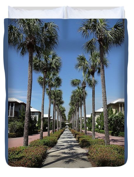 Palm Lined Pathway Duvet Cover