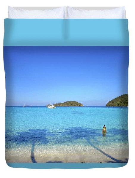 Palm Shadows On The Atlantic Duvet Cover