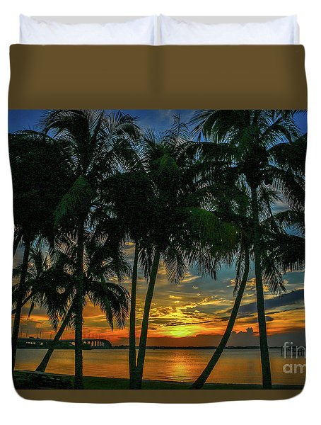 Duvet Cover featuring the photograph Palm Tree Lagoon Sunrise by Tom Claud