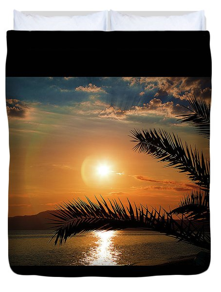 Duvet Cover featuring the photograph Palm Tree On The Beach by Milena Ilieva