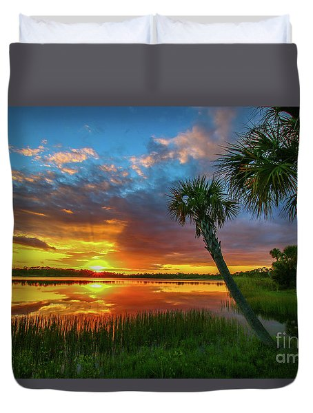 Duvet Cover featuring the photograph Palm Tree Sunset by Tom Claud