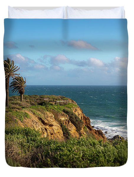Palm Trees Blowing In The Wind Duvet Cover