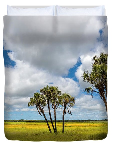 Palm Trees In The Field Of Coreopsis Duvet Cover