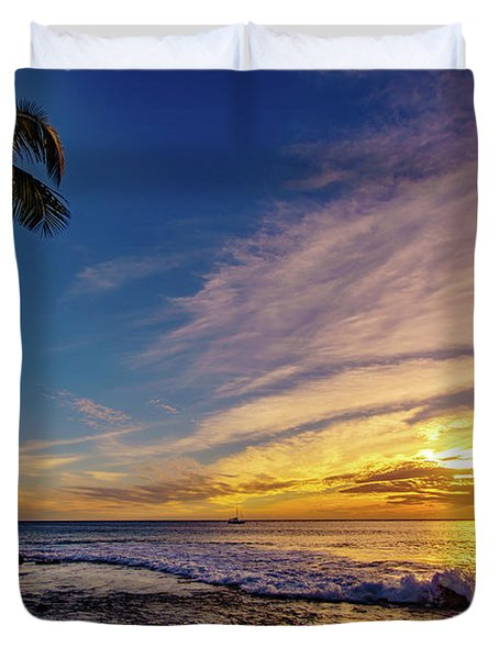 Palm Wave Sunset Duvet Cover