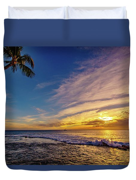 Palm Wave Sunset Duvet Cover