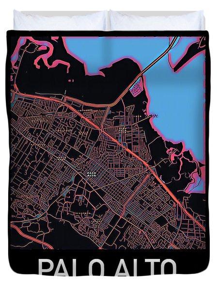 Palo Alto City Map Duvet Cover