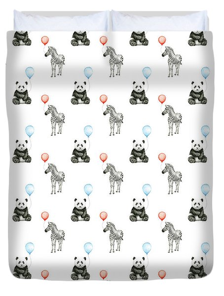 Panda And Zebra With Balloons Pattern Duvet Cover