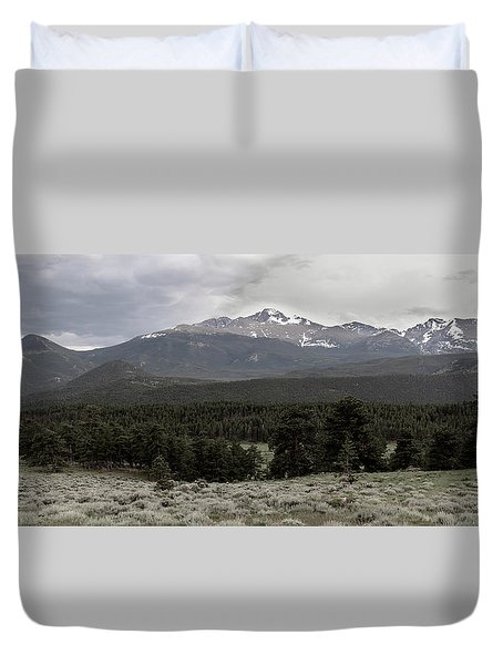 panoramic view of Rocky Mountains Duvet Cover