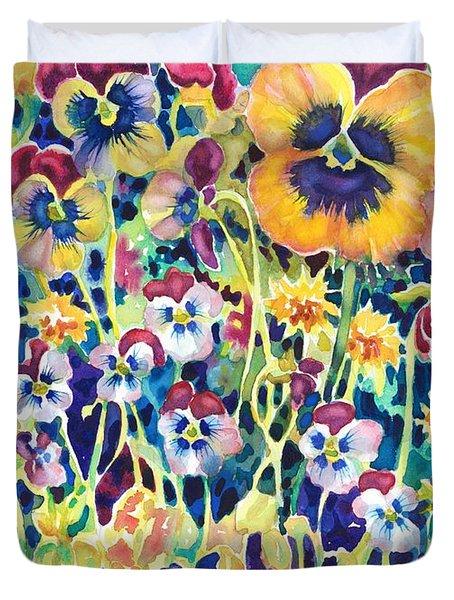 Pansies And Violas Duvet Cover