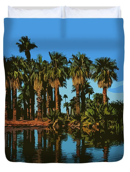 Papago Park Palms Duvet Cover