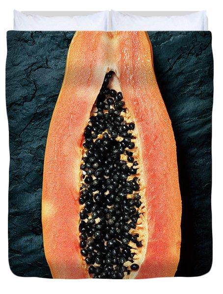 Papaya Cross-section On Dark Slate Duvet Cover
