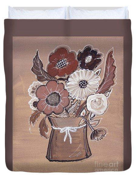 Duvet Cover featuring the painting Paper Bag Bouquet by Robin Maria Pedrero