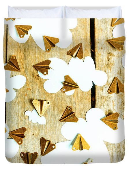 Paper Clouds And Metal Planes Duvet Cover