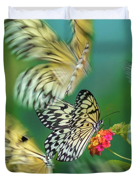 Paper Kite Butterflies Flying Duvet Cover
