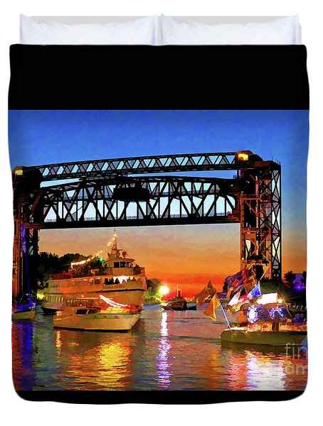 Parade Of Lighted Boats Duvet Cover