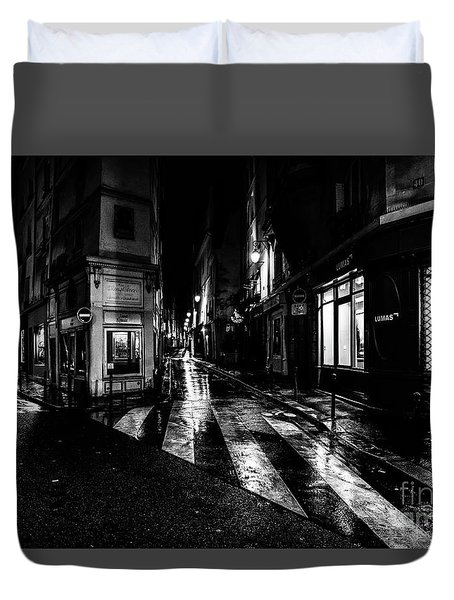 Paris At Night - Rue De Seine Duvet Cover