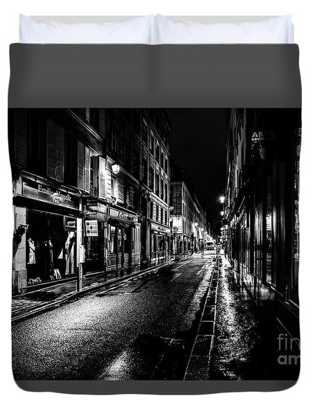 Paris At Night - Rue De Vernueuil Duvet Cover