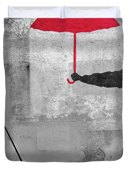 Duvet Cover featuring the photograph Paris Graffiti Man With Red Umbrella by Gigi Ebert