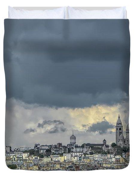Paris Skyline With Sacre Coeur Duvet Cover