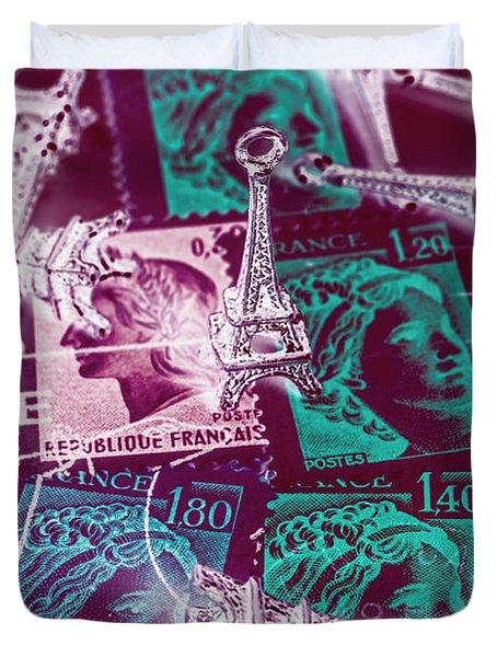Parisian Postmarks Duvet Cover