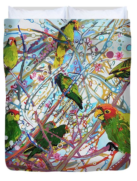 Duvet Cover featuring the painting Parrot Bramble by Tilly Strauss