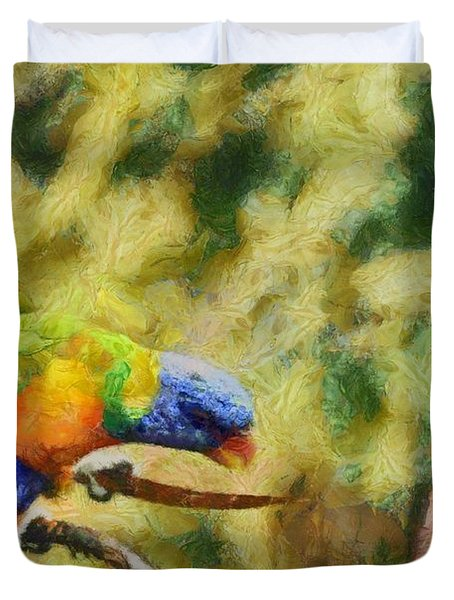 Duvet Cover featuring the painting Parrot Paradise by Harry Warrick