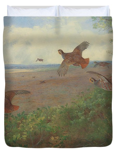 Partridges In Flight, 1907 Duvet Cover