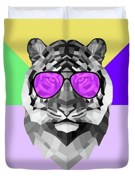 Party Tiger In Glasses Duvet Cover