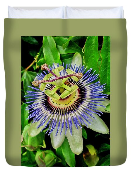 Passion Flower Bee Delight Duvet Cover