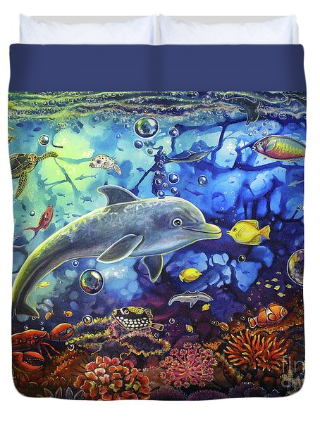 Past Memories New Beginnings Dolphin Reef Duvet Cover
