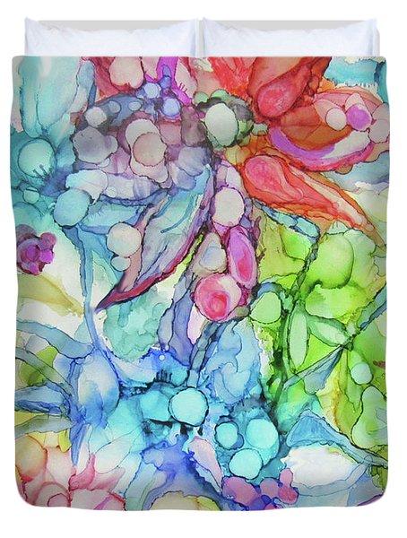 Pastel Flowers - Alcohol Ink Duvet Cover