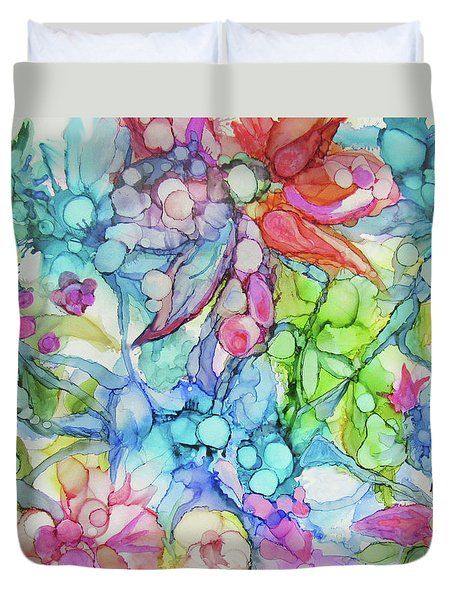 Pastel Flowers - Alcohol Ink Duvet Cover