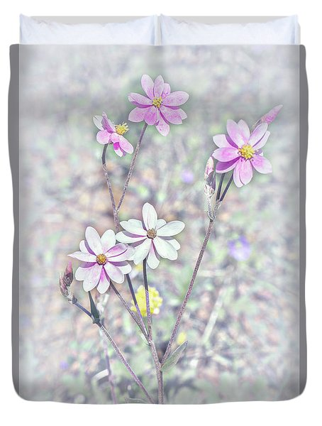 Duvet Cover featuring the photograph Pastel Paper Daisies by Elaine Teague