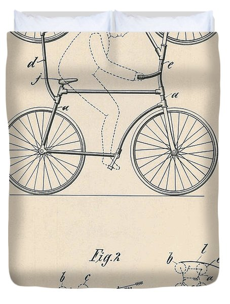 Patent Drawing Double Bicycle For Looping The Loop, 1905 Duvet Cover
