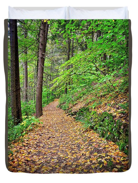 Duvet Cover featuring the photograph Peaceful Autumn Trail At Watkins Glen State Park by Lynn Bauer