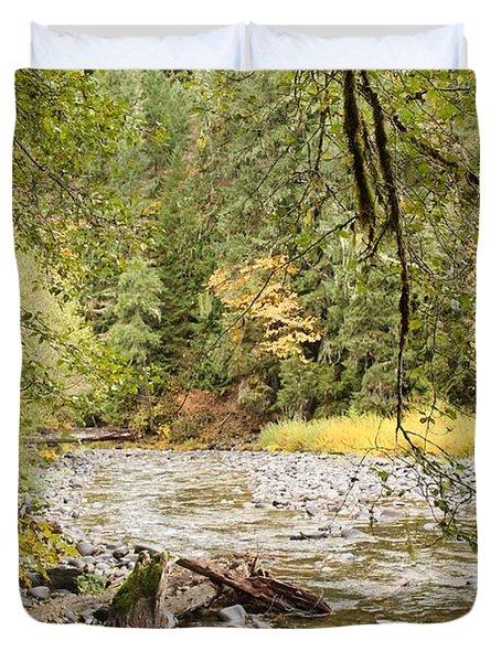 Peaceful Molalla River Duvet Cover