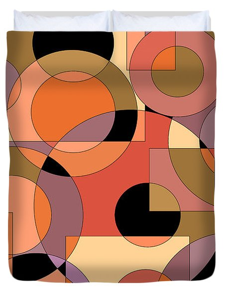 Peach Circle Abstract Duvet Cover