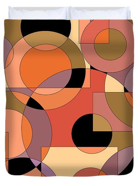 Peach Circle Abstract Duvet Cover
