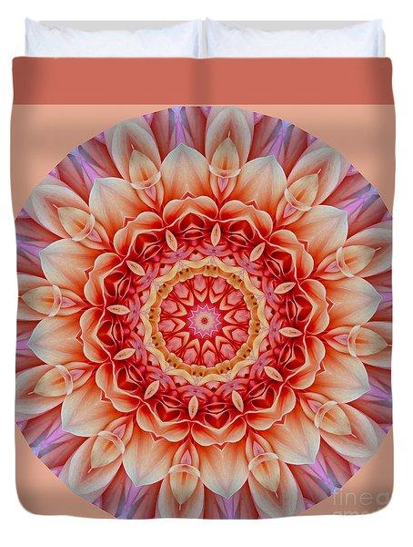 Peach Floral Mandala Duvet Cover