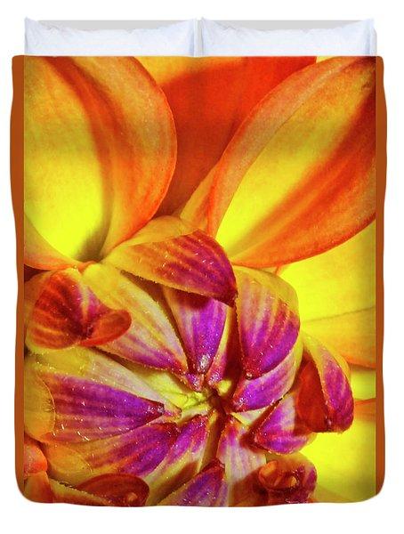 Peach Purple Flower Duvet Cover