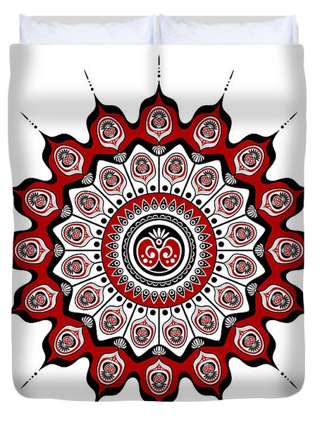 Peacock Feathers Mandala In Black And Red Duvet Cover