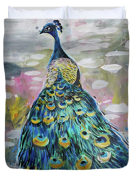 Peacock In Dappled Light Duvet Cover
