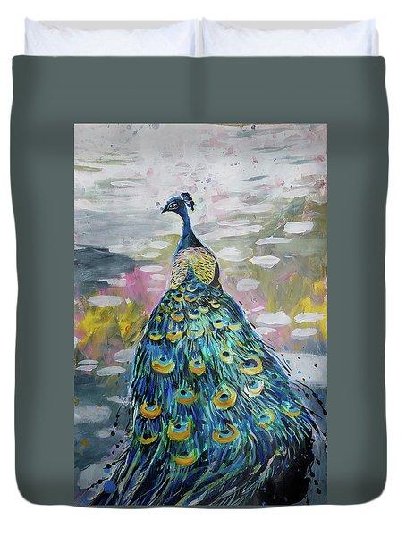 Peacock In Dappled Light Duvet Cover