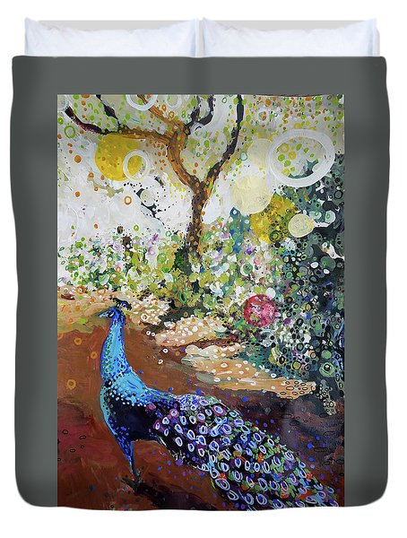 Peacock On Path Duvet Cover