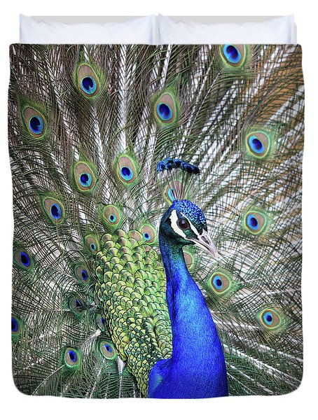 Peacock Portrait Duvet Cover