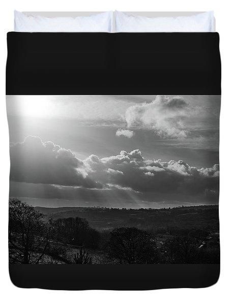 Peak District From Black Rocks In Monochrome Duvet Cover