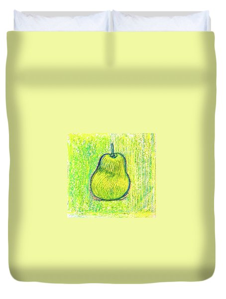 Duvet Cover featuring the drawing Pear by Asha Sudhaker Shenoy