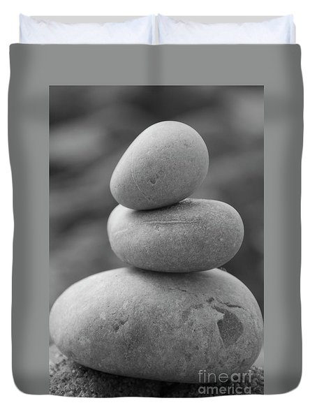 Pebbles In Black And White Duvet Cover