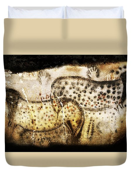 Pech Merle Horses And Hands Duvet Cover